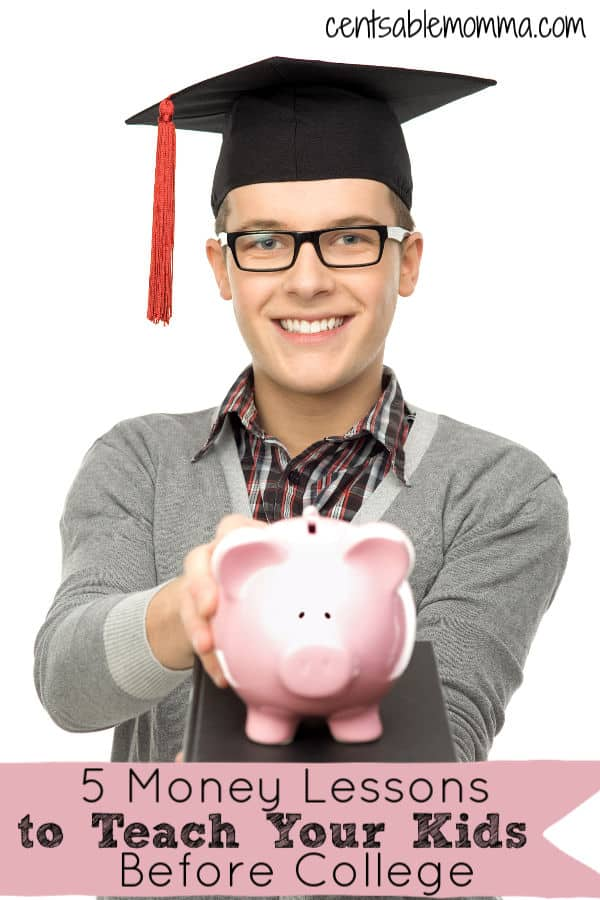 You want to make sure that your kids are going to grow up financially responsible. Check out these 5 money lessons that you should teach your kids before college (as well as some ideas how to do it).