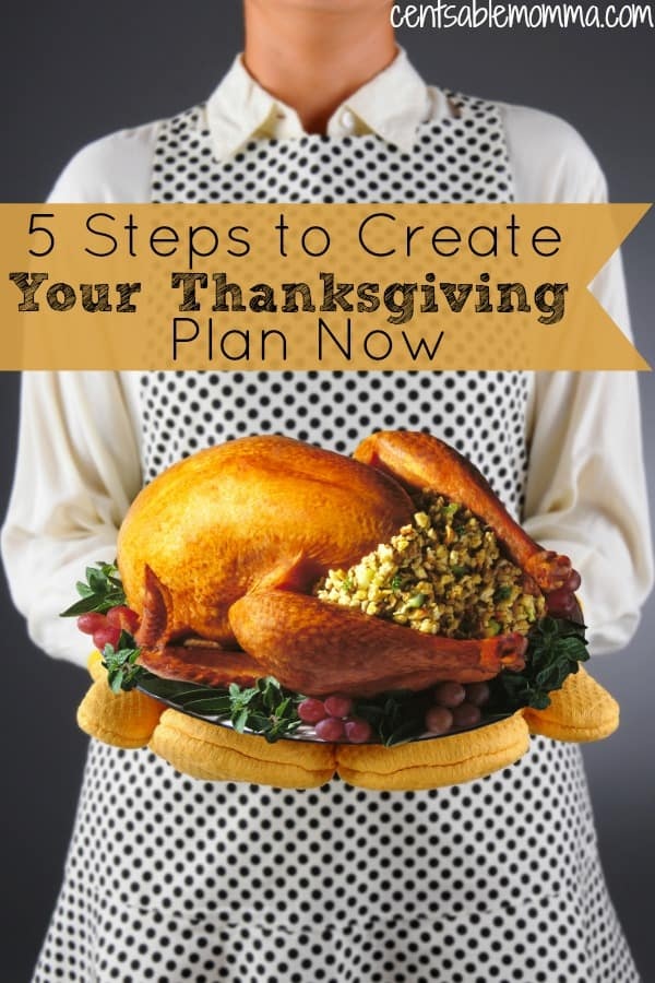 This is the year you're going to be organized for Thanksgiving! No more shopping at the last minute and trying to whip up your Thanksgiving meal with no planning. Check out these 5 steps to create your Thanksgiving plan now for a low-stress holiday with family and friends.