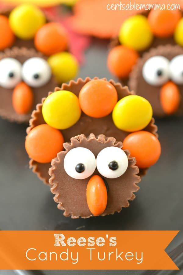 Using Reese's peanut butter cups and Reese's pieces, you can create these super cute Reese's Candy Turkeys that are perfect for a Thanksgiving treat or craft for the kids.