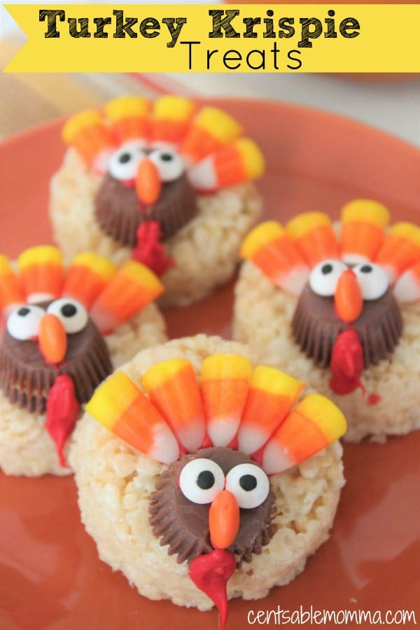 Create these super cute Turkey Krispie Treats with homemade Rice Krispie treats, Reese's peanut butter cups, and candy corn. Perfect as a Thanksgiving dessert or craft.
