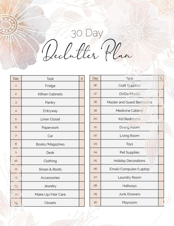 Get your home organized and decluttered with this FREE 30 Day Declutter Plan printable checklist.