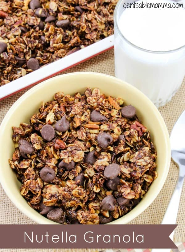 Easily create this homemade Nutella Granola recipe with oats, honey, pecans, coconut, chocolate chips, and of course, Nutella.  Perfect for breakfast or as a snack.