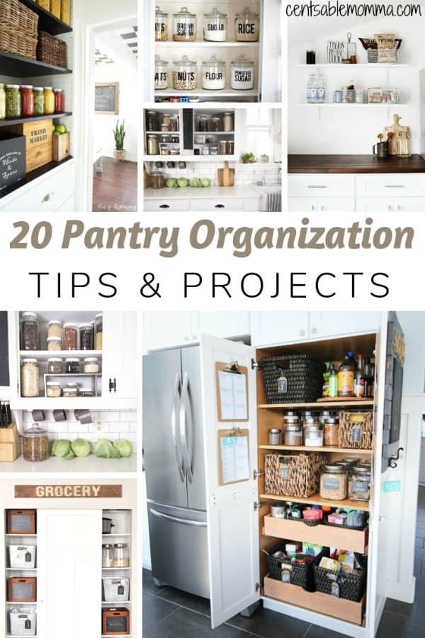 Check out these pantry organization tips and projects for ideas to organize your pantry food items whether you have a walk-in pantry or just a couple of shelves in a cabinet.  There are lots of organization tips and ways to make everything look pretty!