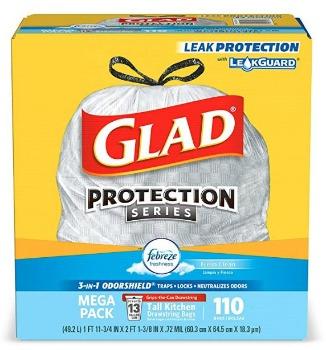 Glad Odorshield Tall Kitchen Drawstring Trash Bags (110 ct.): $10.64 + FREE Shipping