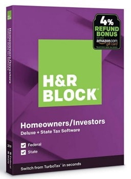 H&R Block Deluxe + State Tax Software 2019: $17.99
