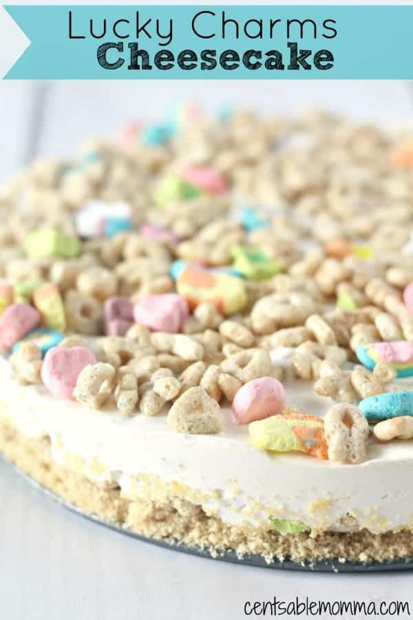 This no-bake Lucky Charms Cheesecake is not only delicious, but it adds a bit of whimsy to a St. Patrick's Day dessert recipe with Lucky Charms cereal mixed throughout the cheesecake. Made with golden Oreos, Lucky Charms, and cheesecake batter, you can whip up this dessert in no time.