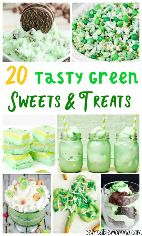 Make St. Patrick's Day fun with these Tasty Green Sweets & Treats recipe ideas - with a huge variety of ideas like shamrock shakes, a cheesecake with Lucky Charms, trifles, fudge, and much more.