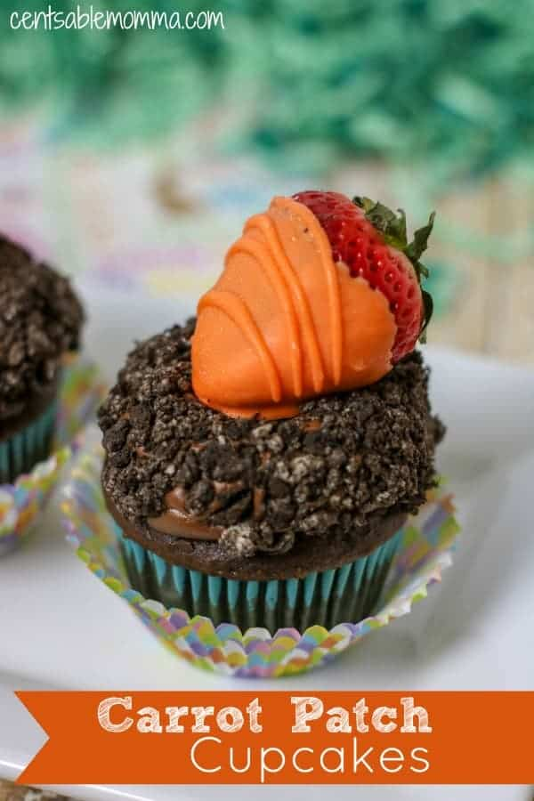 Easily create this fun Carrot Patch Chocolate Cupcake dessert recipe for Easter. It's super cute with a strawberry dipped in orange chocolate to make them look like carrots with ground Oreos as dirt!