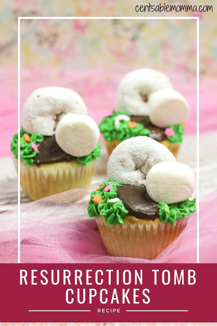 Easily create these delicious Easter Resurrection Tomb Cupcakes using your favorite cupcake recipe, frosting, powdered donuts, and marshmallows.  They're a great representation of the empty tomb on Easter morning!