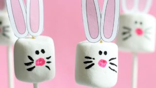 Easy Easter bunny marshmallows with free printable bunny ears.