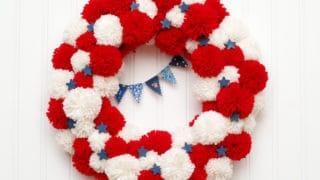 Patriotic Pom Pom Wreath -