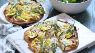 Zucchini and Corn Grilled Naan Pizza