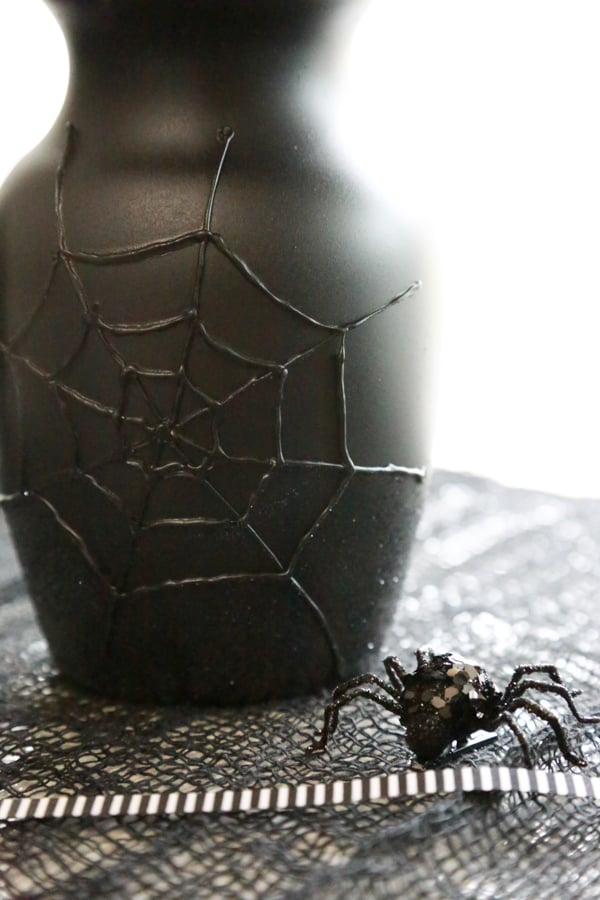 DIY Spider Web Halloween Vase