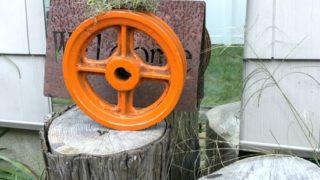 DIY Metal Wheel Pumpkin