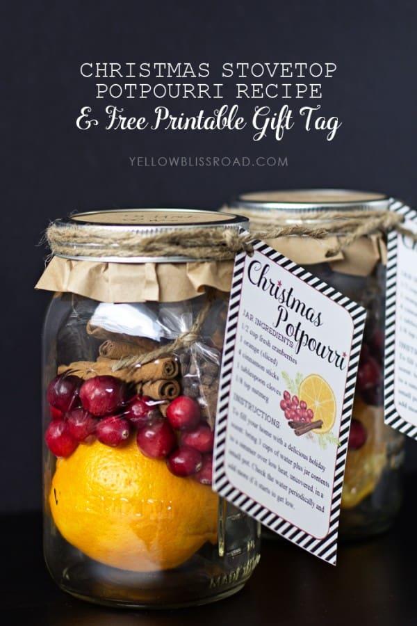 Christmas Stovetop Potpourri Recipe With Free Printables