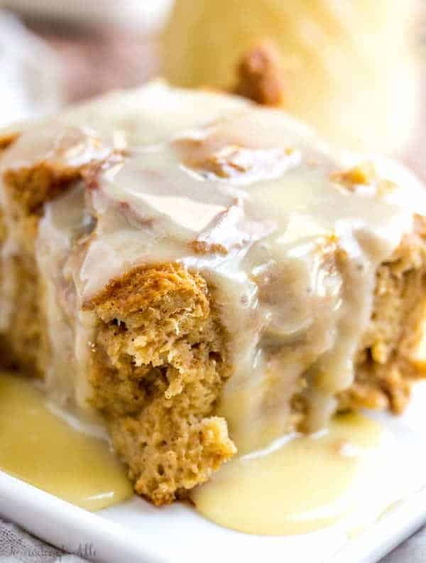 Gingerbread Bread Pudding with Vanilla Sauce