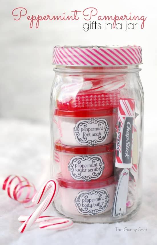 Peppermint Pampering Gifts in Jars