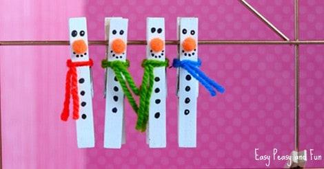 Clothespin Snowman Craft