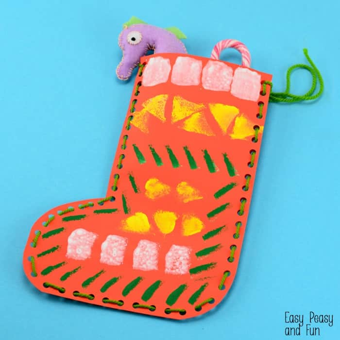 Sponge Painted Christmas Sock Craft