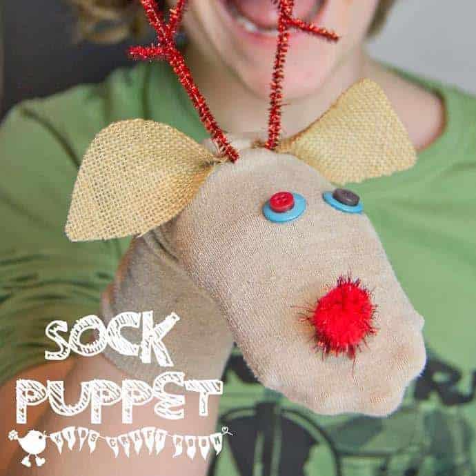 Reindeer No-Sew Sock Puppets