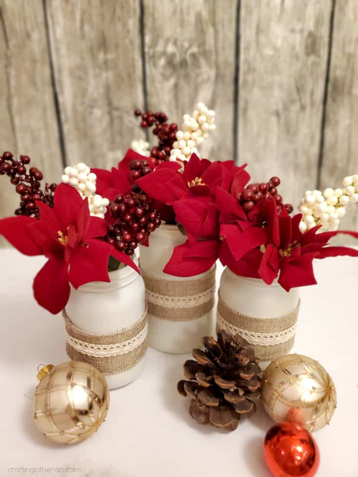 Decorated Christmas Jars with Dollar Store Supplies