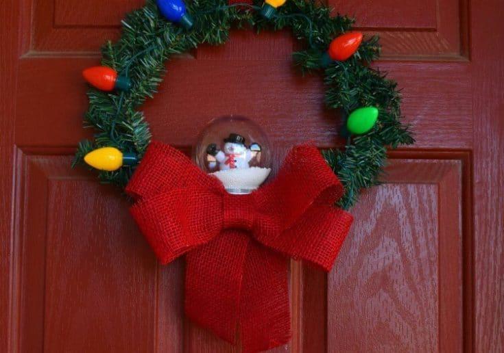 DIY Dollar Store Christmas Snow Globe Wreath