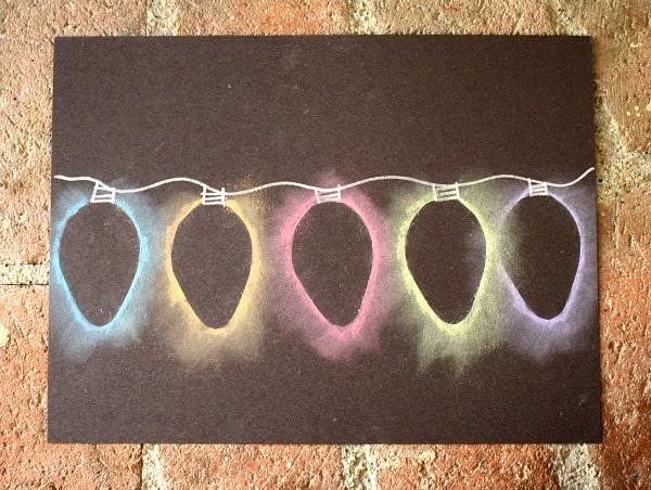 Christmas Light Chalk Stencil Art