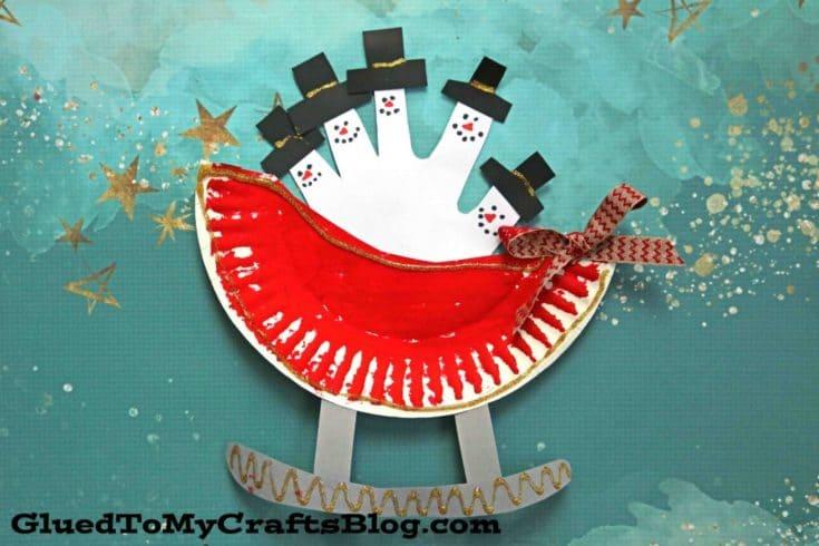 Paper Plate Snowman Sleigh