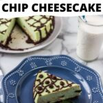 mint chocolate chip cheesecake on a blue plate.