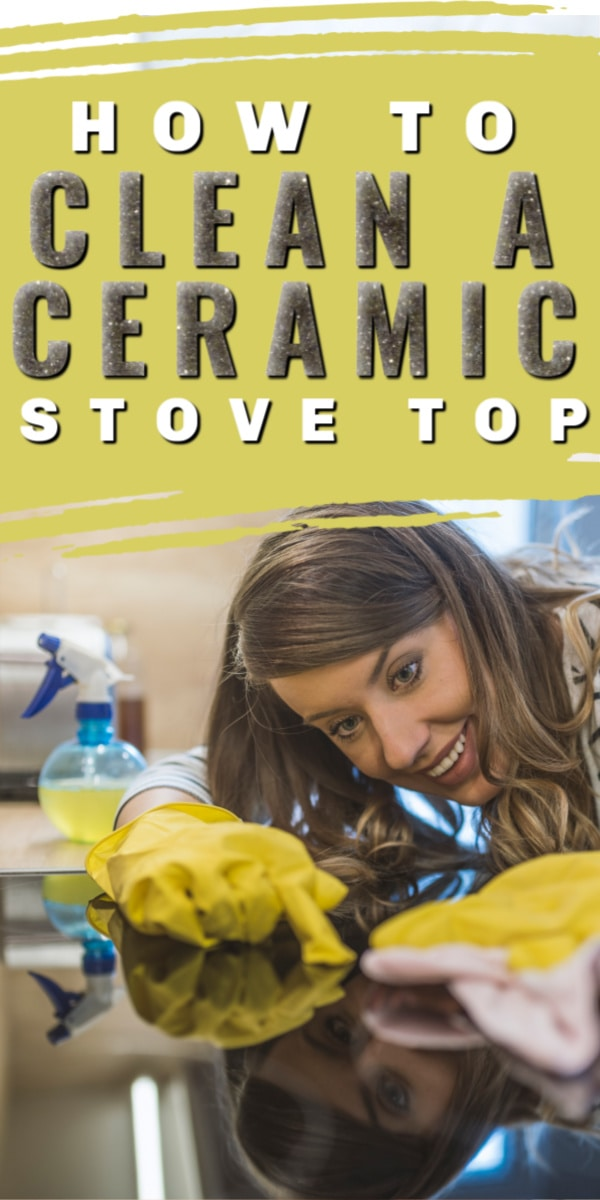 woman cleaning ceramic stove top