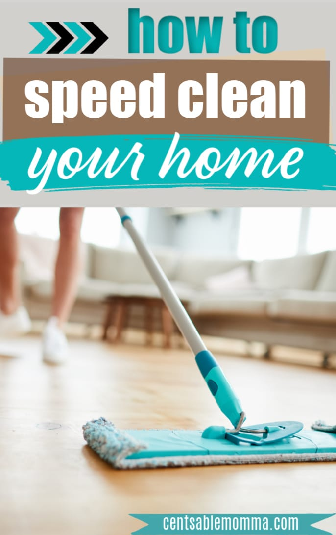 woman cleaning with microfiber mop
