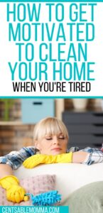 woman falling asleep while cleaning