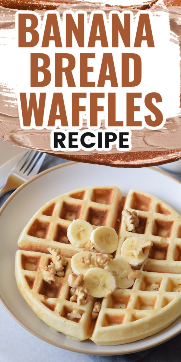 homemade-waffles on a plate with bananas on top
