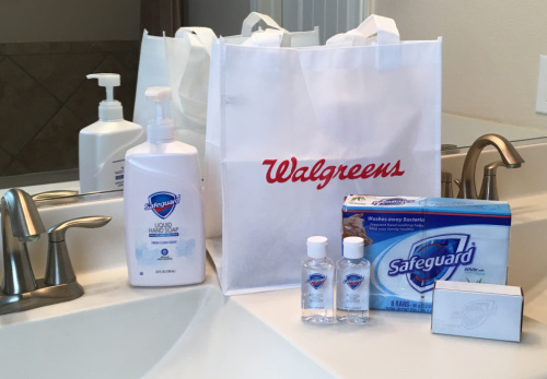 Safeguard soaps and hand sanitizer on a bathroom counter