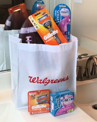 Walgreens bag with Gillette and Venus shave products.