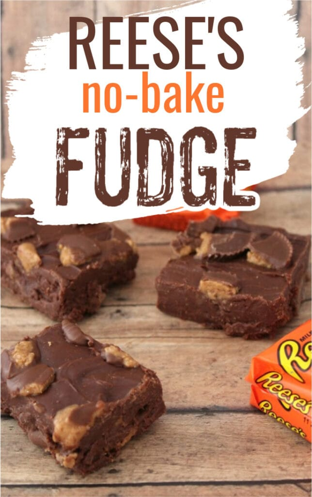 fudge made with Reese's peanut butter cups with text overlay.