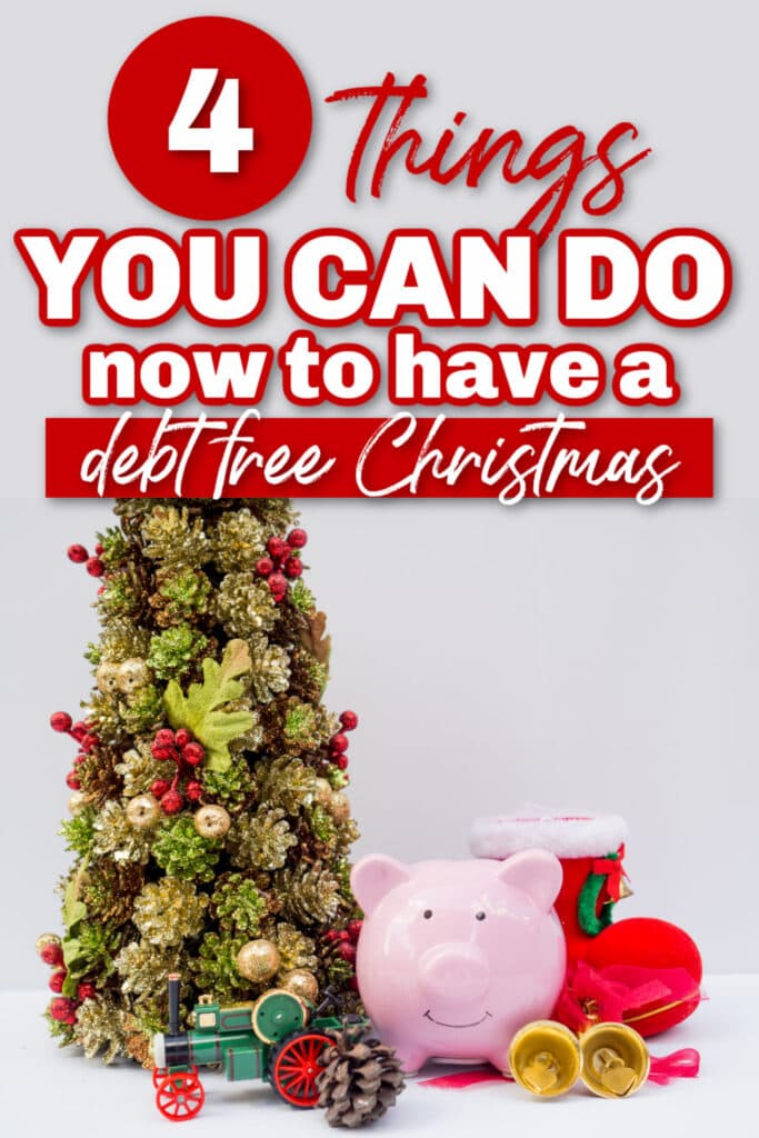 piggy bank next to holiday items like a Christmas tree, train, and stocking with text overlay.