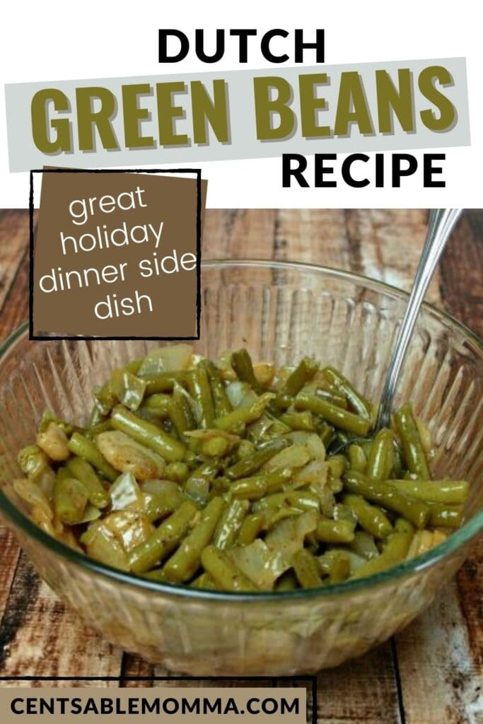 Dutch green beans in a bowl with text overlay.