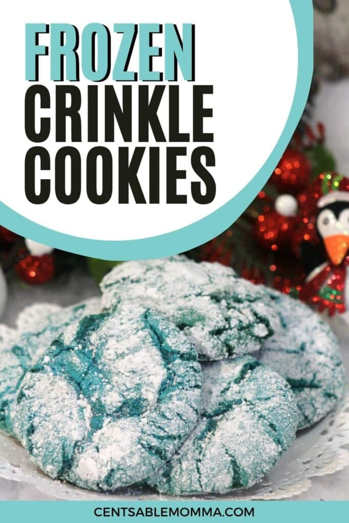 Blue Crinkle Cookies piled on a doily with text overlay.