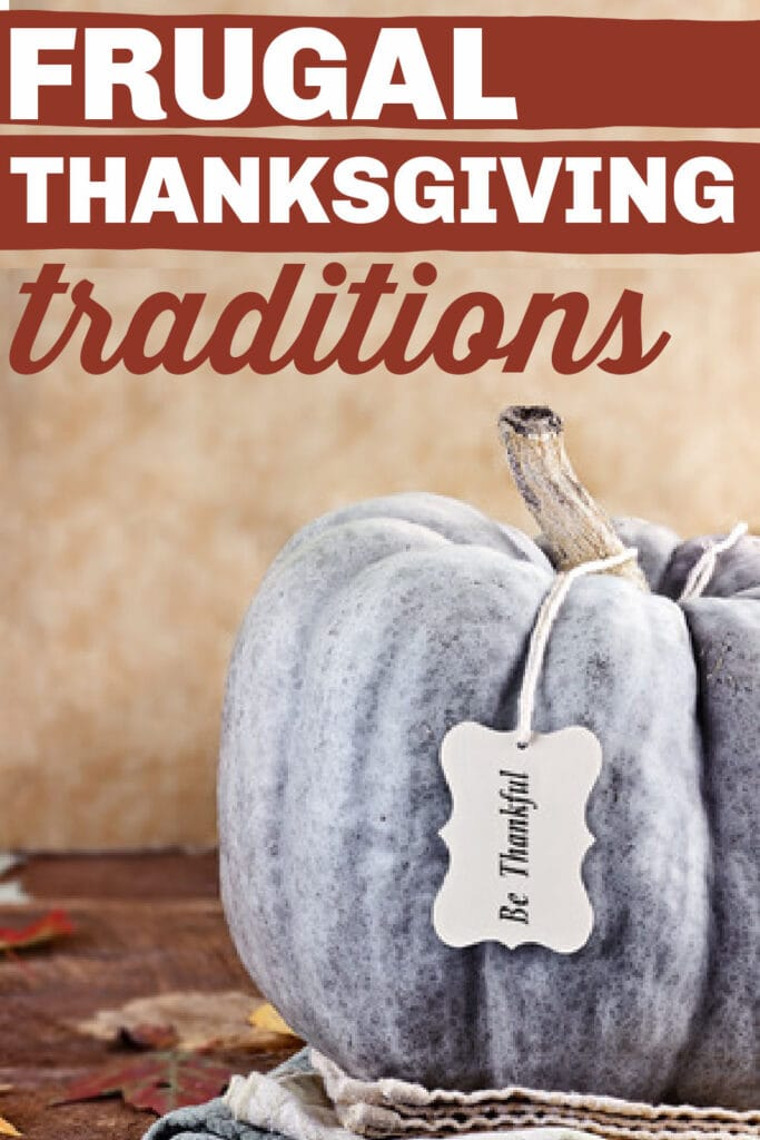"""silver pumpkin with tag that says, """"Be Thankful"""" with text overlay."""