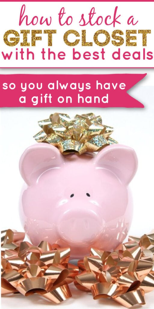piggy bank with gift bows and text overlay.