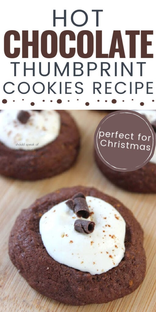 hot chocolate cookies with white frosting on top with text overlay.