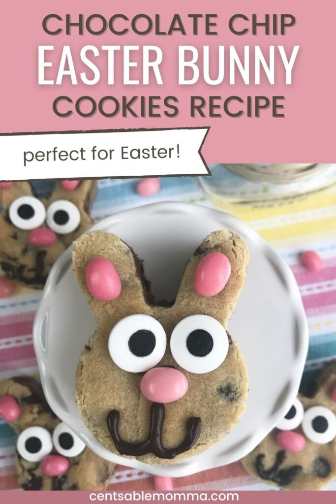 chocolate chip cookies in a bunny shape for Easter with eyes, a nose, and mouth (with text overlay).