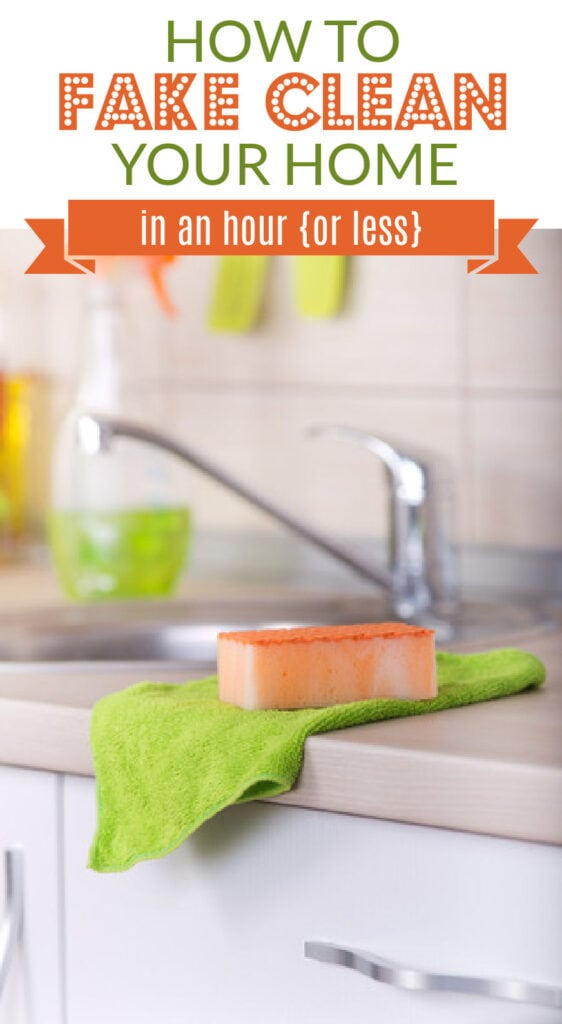 a sponge and towel sitting on a kitchen counter (with text overlay).