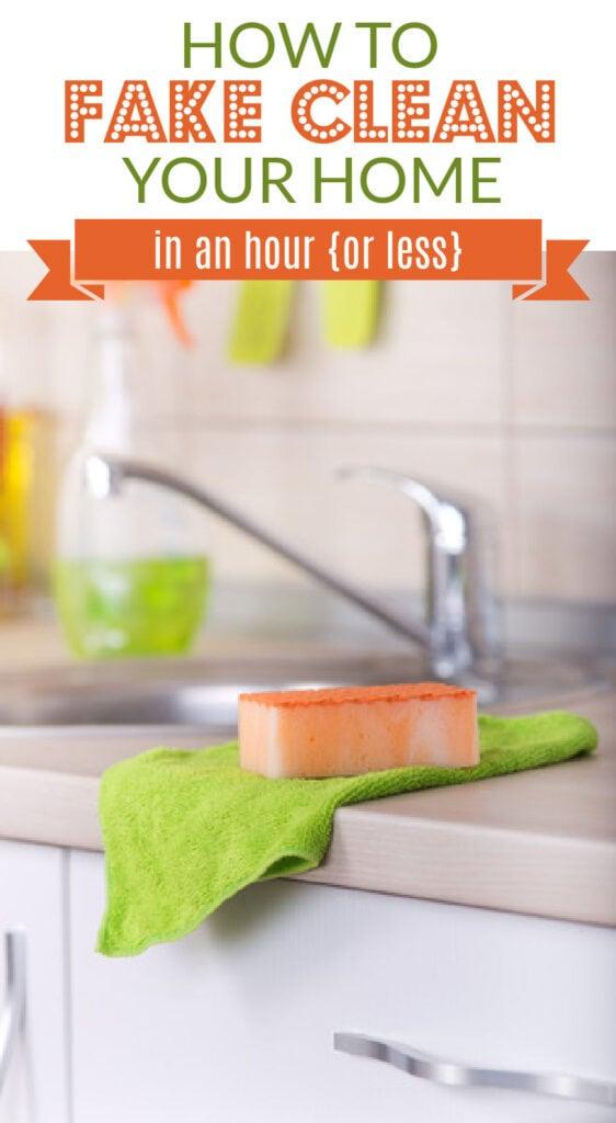 uma esponja e uma toalha sobre o balcão da cozinha (com sobreposição de texto).