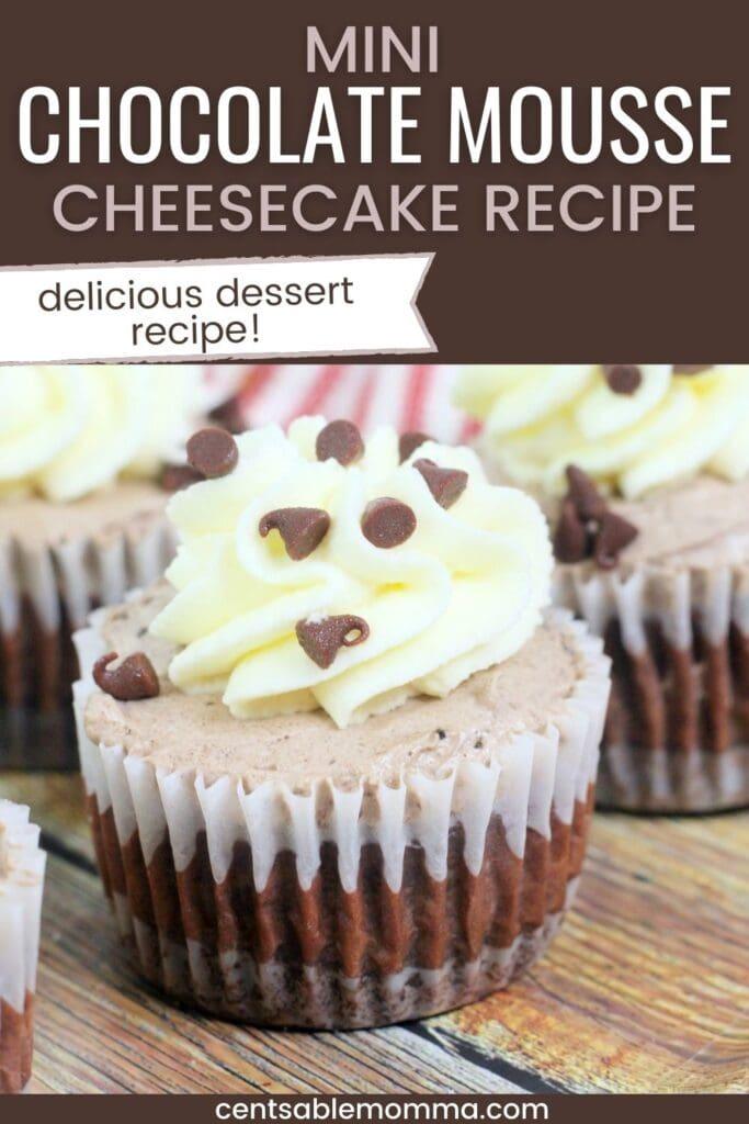 Asse esta deliciosa receita de Mini Cheesecake de Mousse de Chocolate com fundo de biscoito, meio de cheesecake e topo de musse de chocolate.  Tão deliciosa e uma ótima sobremesa!