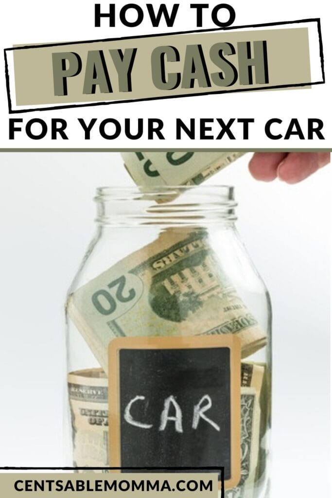 """glass jar filled with cash with the label """"car"""" on the outside (with text overlay)."""