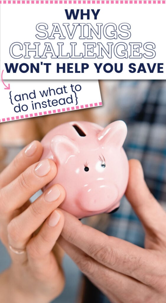 Hands holding a small pink piggy bank (with text overlay).