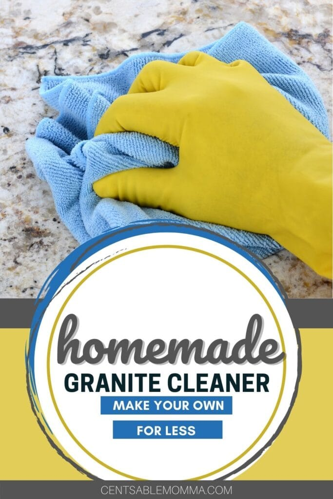 gloved hand using a microfiber cloth to clean granite counters (with text overlay).