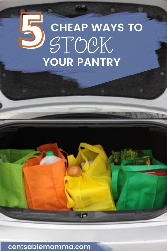 open trunk of car full of colorful reusable bags full of groceries (with text overlay).